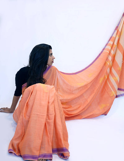Bavanbuti Handloom Light Orange Cotton Saree