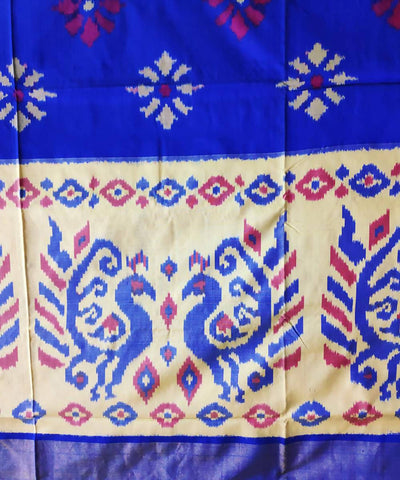 Navy blue and white handloom pochampally ikat silk saree
