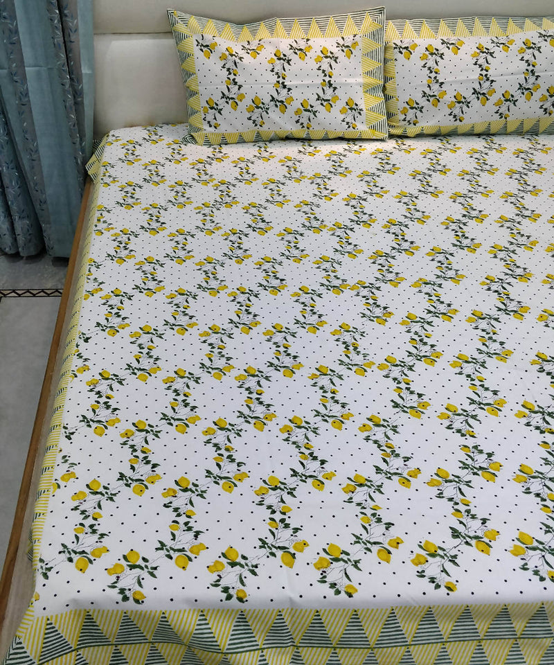 White Yellow Handblock Print Cotton Bedsheet