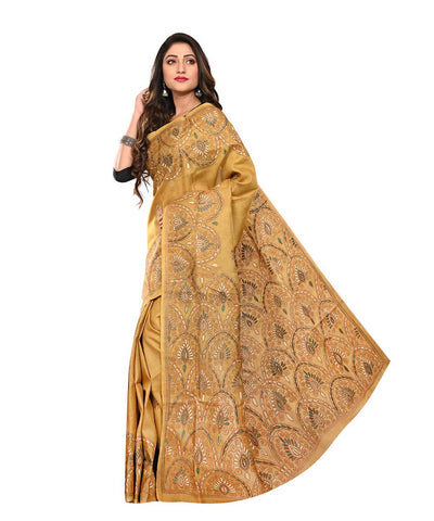 Mustard Brown Tussar Kantha Stitch Saree