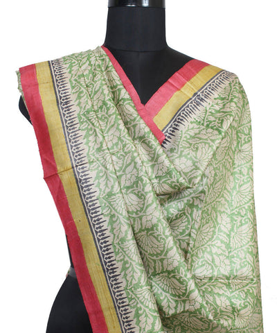 Light Green Handloom Tussar Silk Dupatta