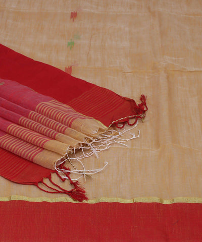 Bengal Handwoven Yellow Red Cotton Saree