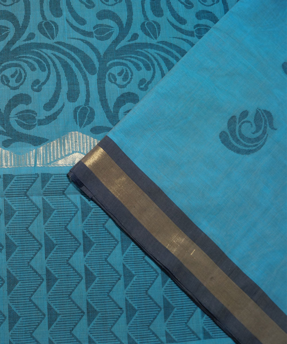 Sky Blue Handwoven Vadambacherry Cotton Saree