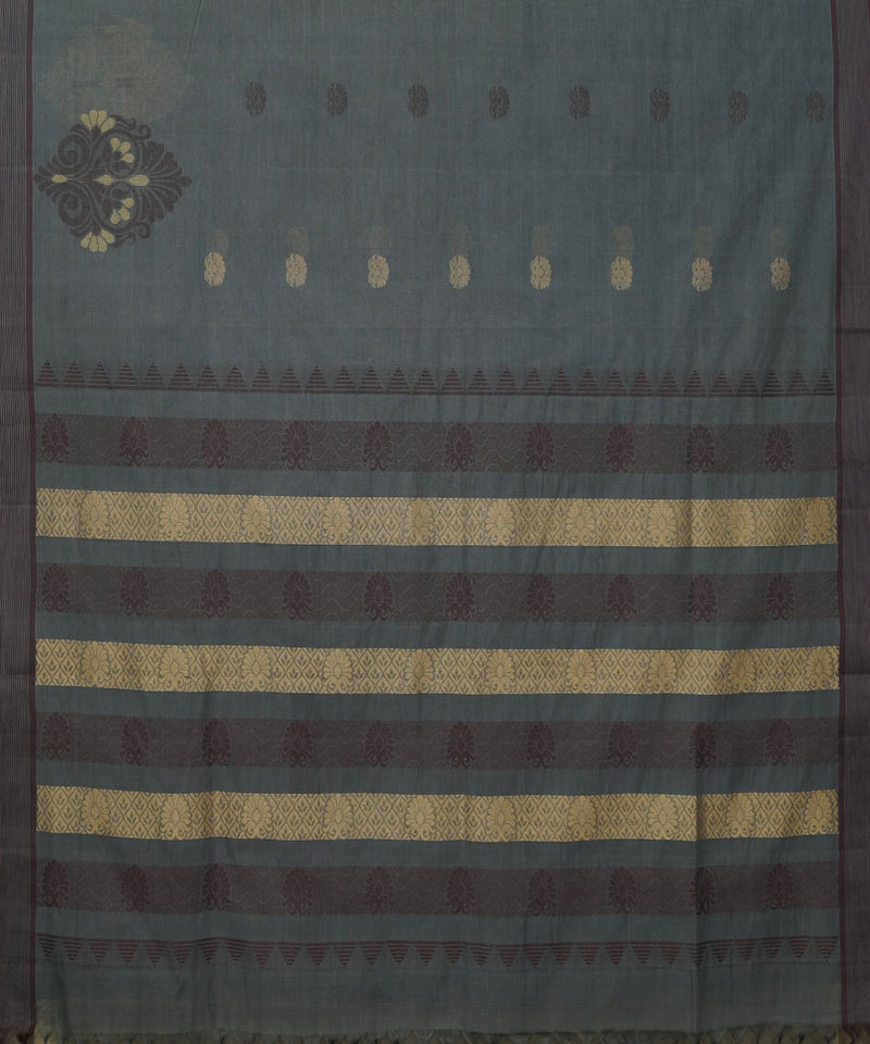 Grey Handwoven Vadambacherry Cotton Saree