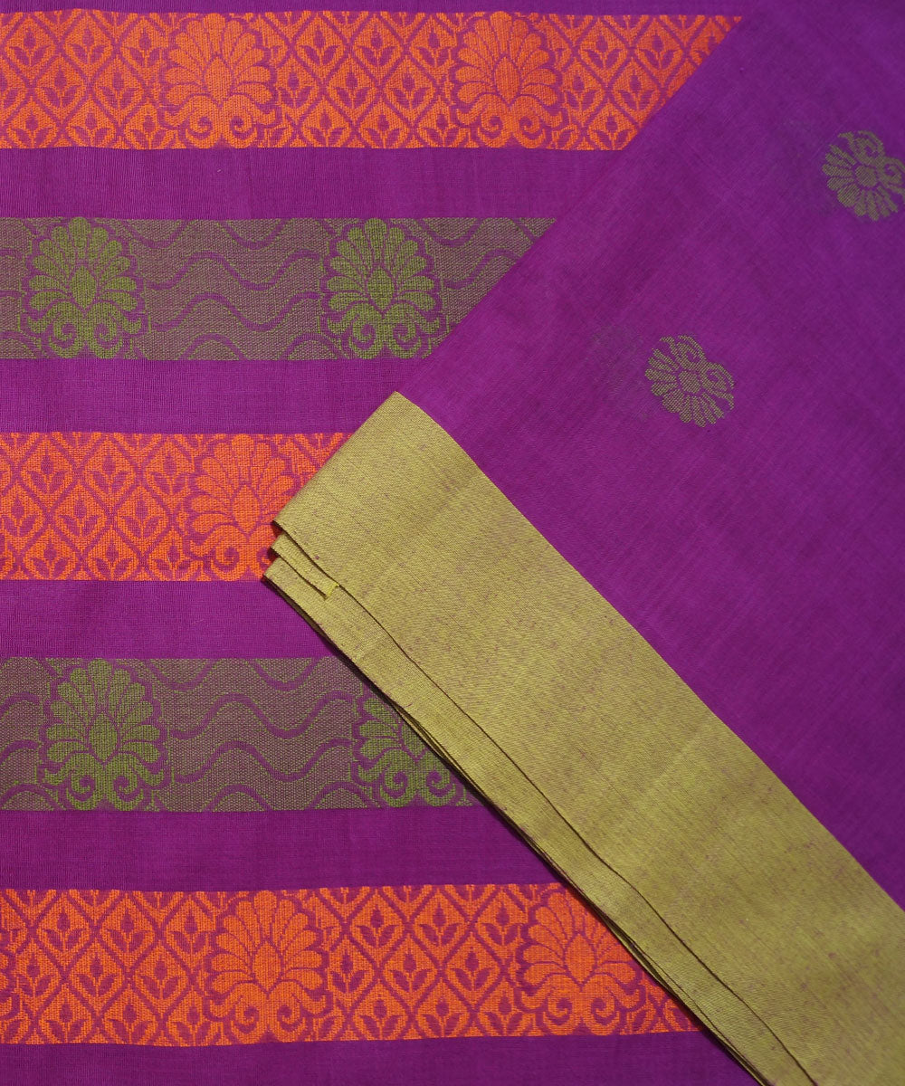 Purple Handwoven Vadambacherry Cotton Saree