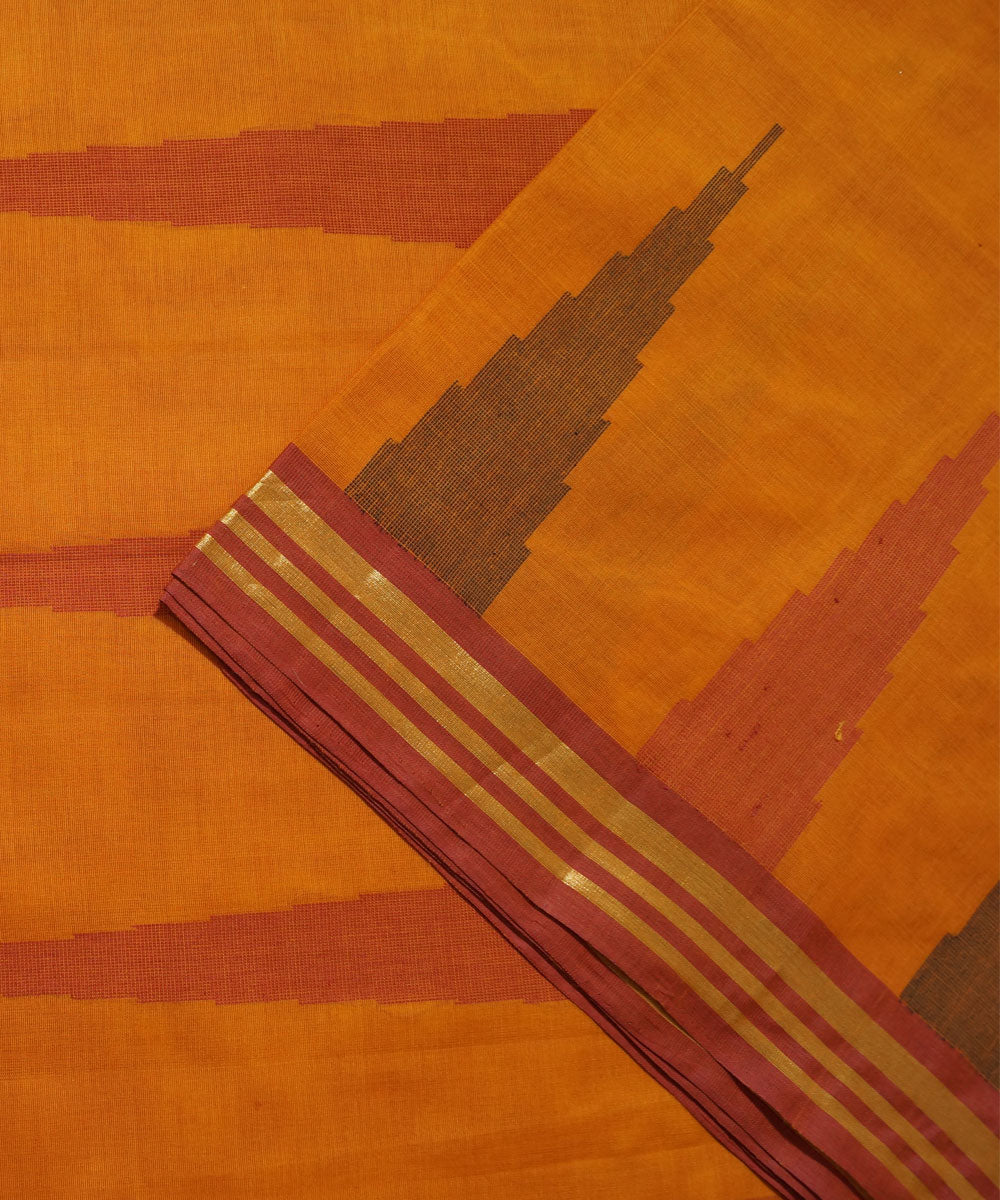 Mustard Handwoven Vadambacherry Cotton Saree