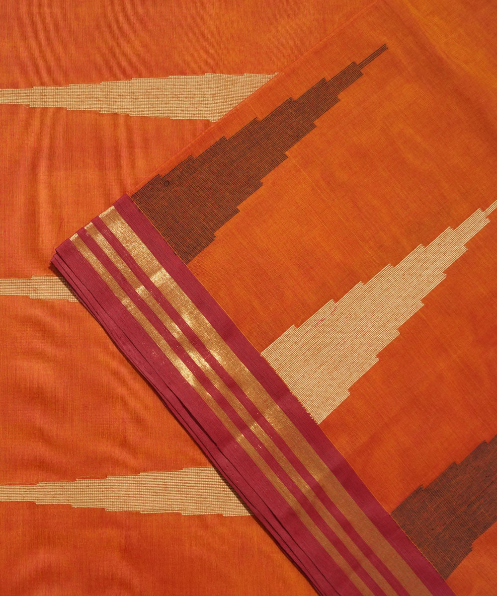 Vadambacherry Orange Handwoven Cotton Saree