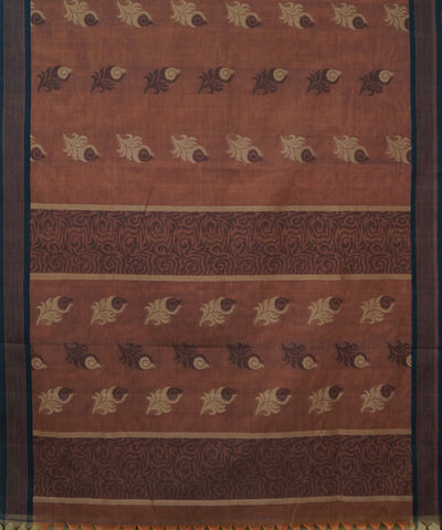 Brown Handwoven Vadambacherry Cotton Saree