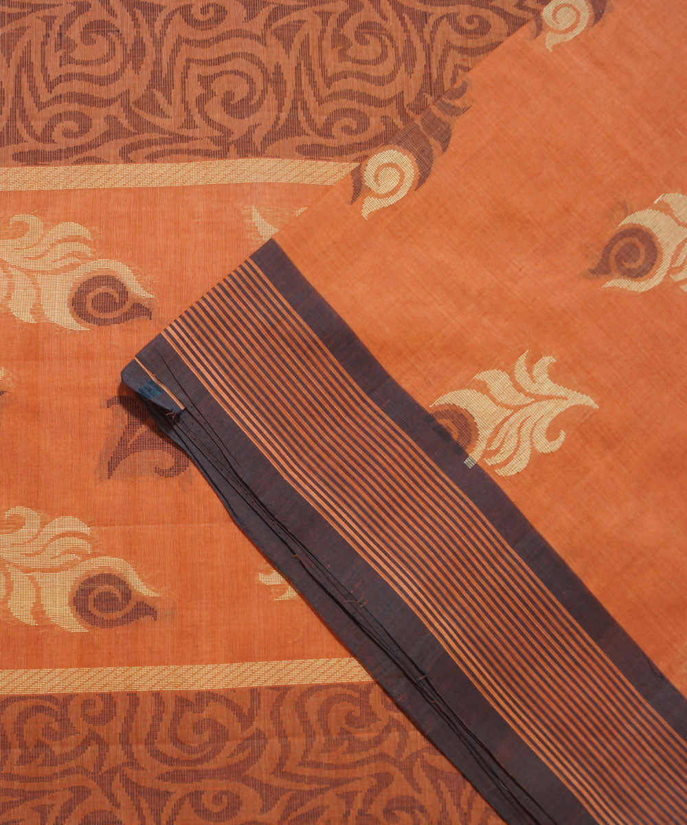Orange Handwoven Vadambacherry Cotton Saree