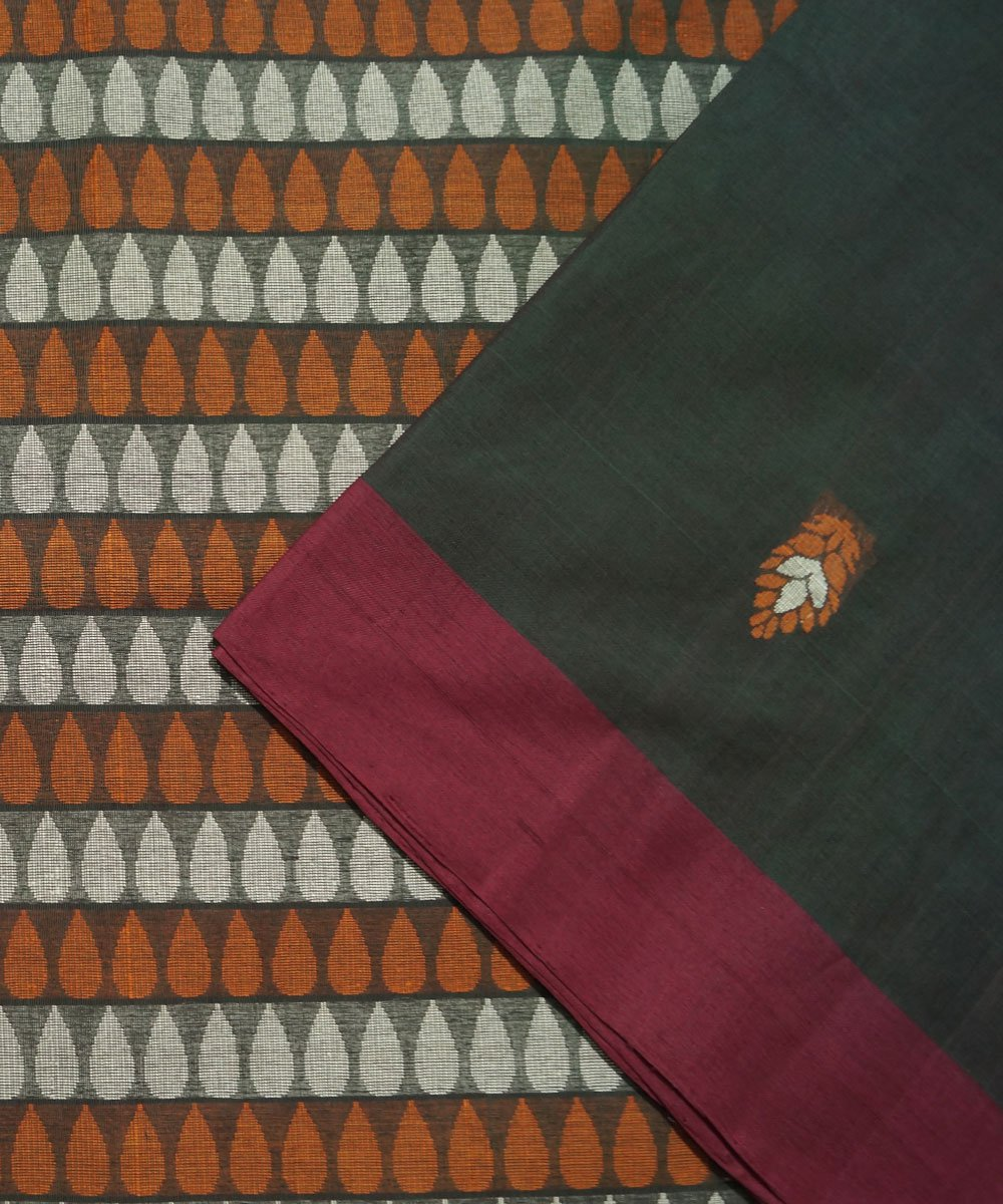 Bottle Green Handwoven Vadambacherry Saree
