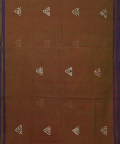 Vadambacherry Brown Handwoven Cotton Saree