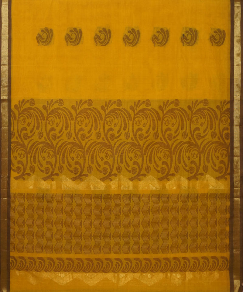 Yellow Handwoven Vadambacherry Cotton Saree