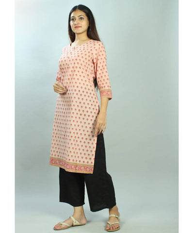 Pink hand block printed cotton kurti