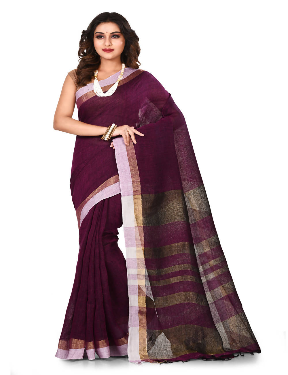 Dark purple Bengal zari Handloom cotton linen saree