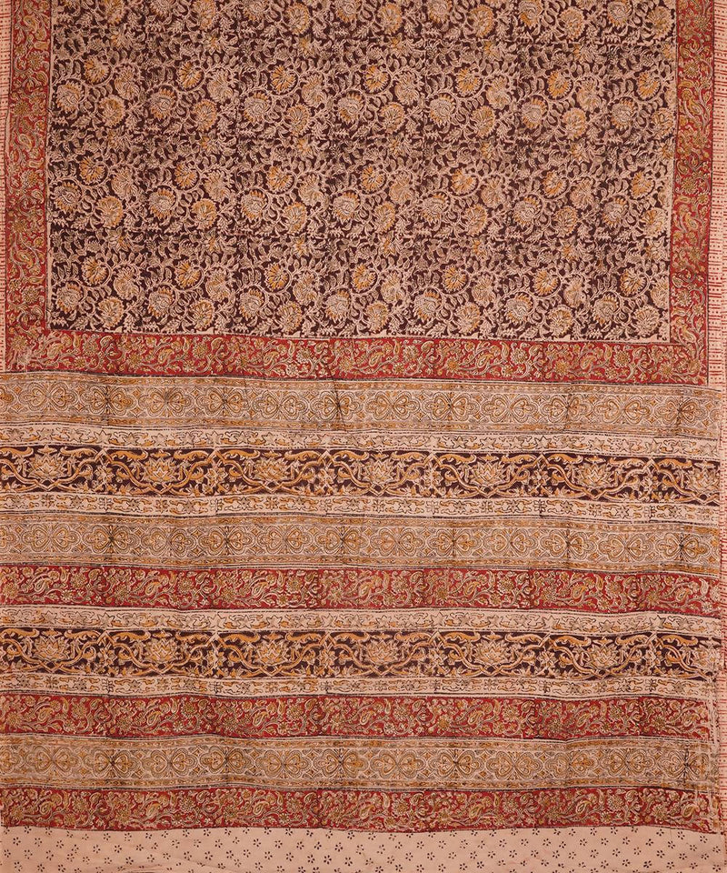 Dark Brown Hand Print Kalamkari Cotton Saree