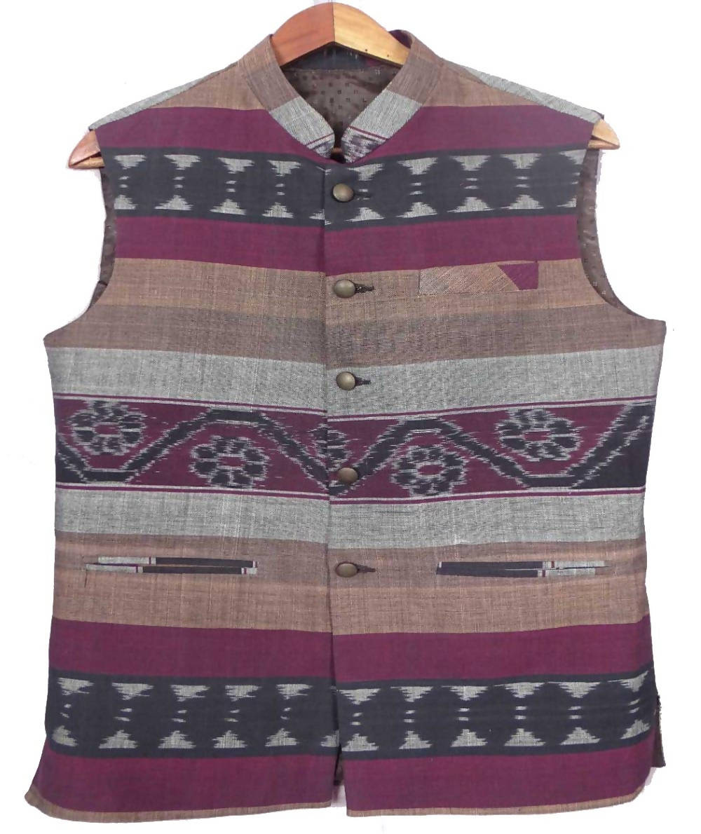 Multicolour Sambalpuri  Cotton Handwoven Sleeveless Jacket