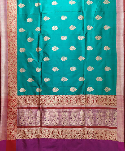 Banarasi Blue Green Handloom Katan Silk Saree