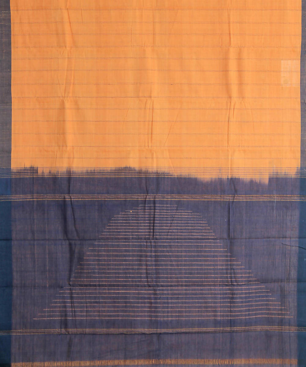 orange blue natural dye muslin khadi cotton sarees