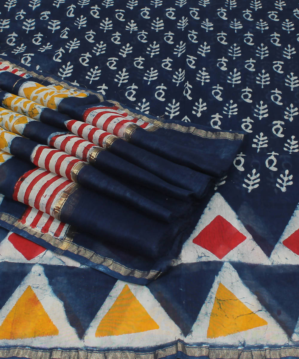 Navy Blue Hand Block Printed Chanderi Saree