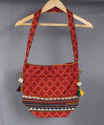 Maroon Lambani Hand Embroidery Cotton Hand Bag