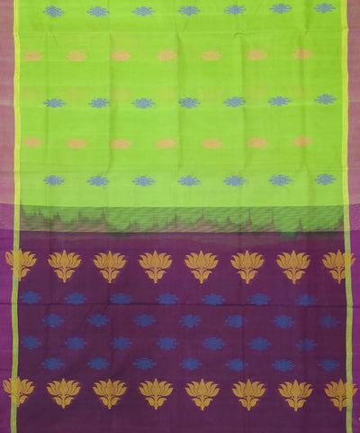 venkatagiri Lime green handwoven cotton saree