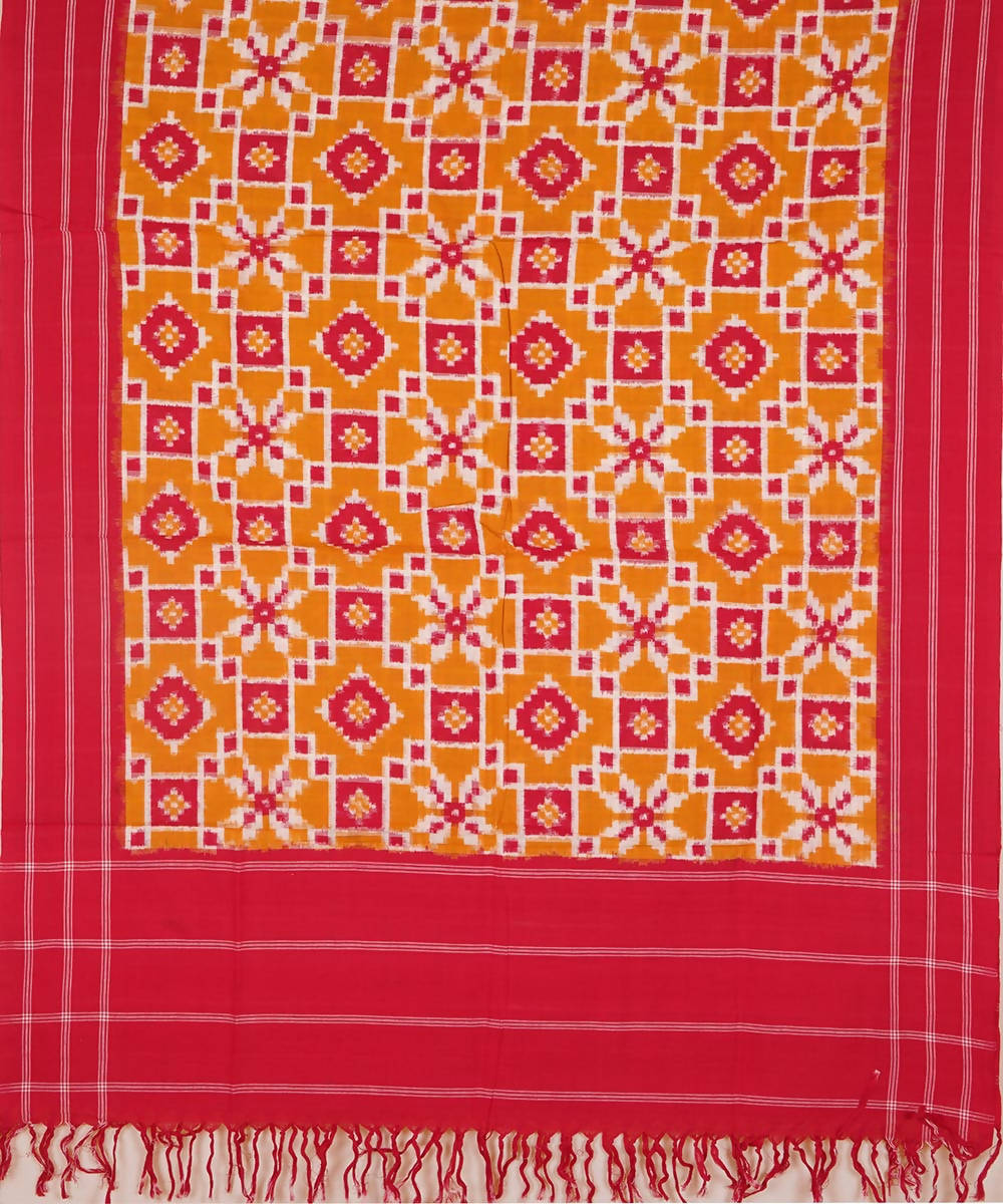 Red and yellow orange Handwoven Teliya rumal ikat cotton Dupatta