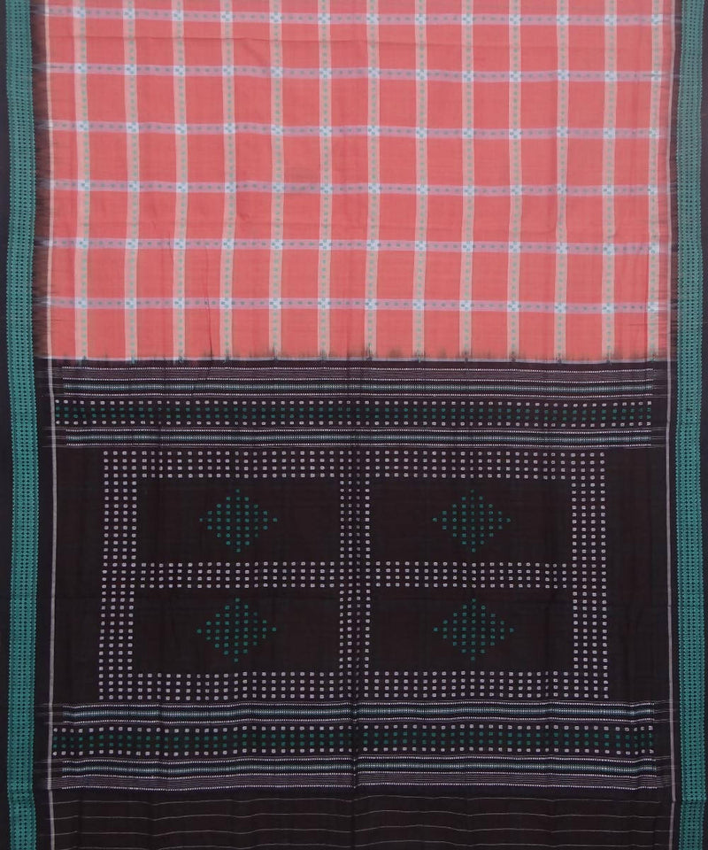 Handwoven peach black checks bomkai cotton saree