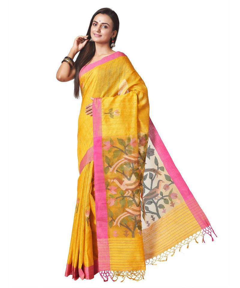 Biswa bangla handloom matka silk mustard yellow jamdani saree