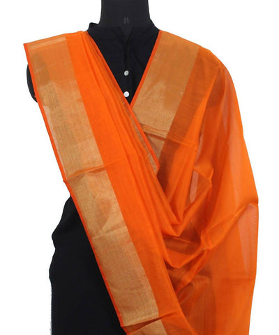 Handwoven Fire Orange Maheshwari Sico Dupatta