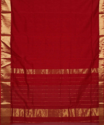 Red Maheshwari Handloom Cotton Silk Saree