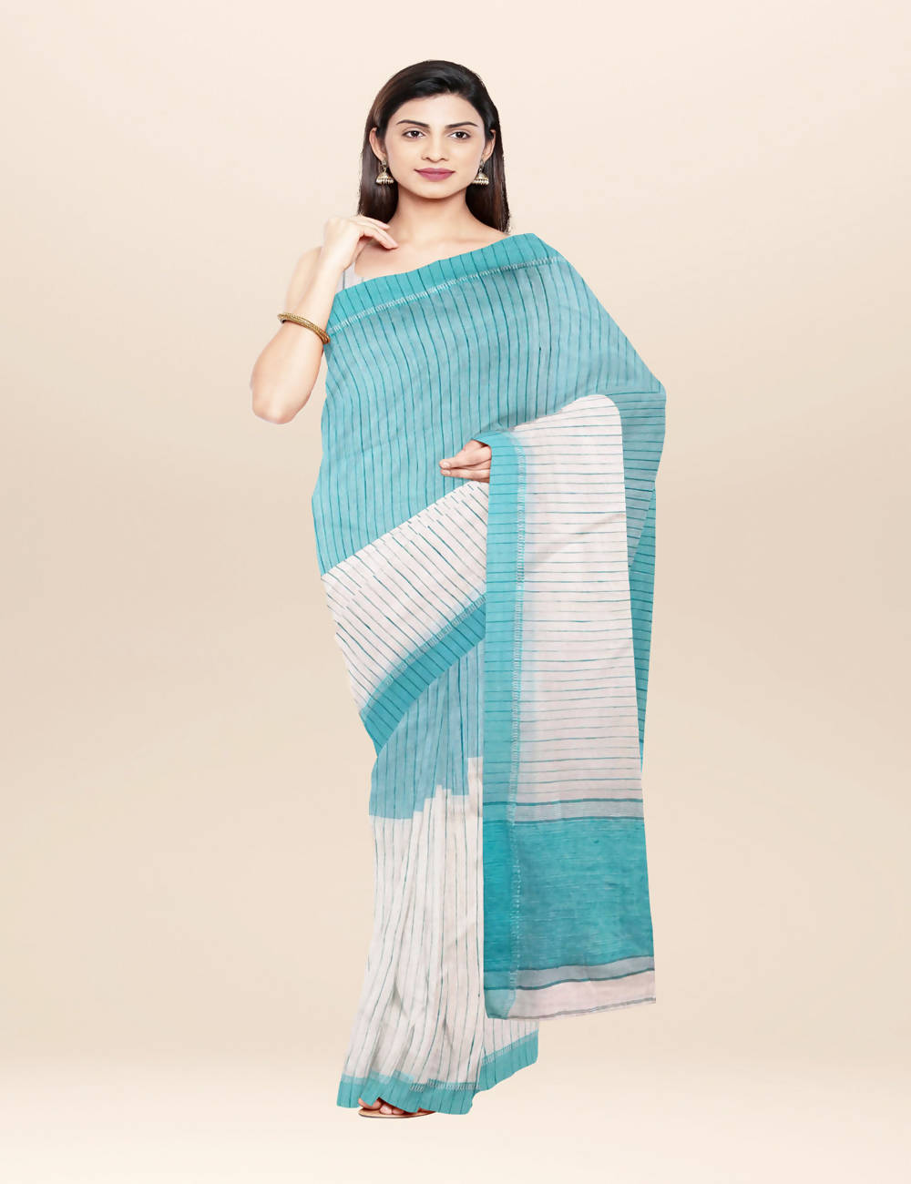 Off white blue handwoven bengal cotton saree