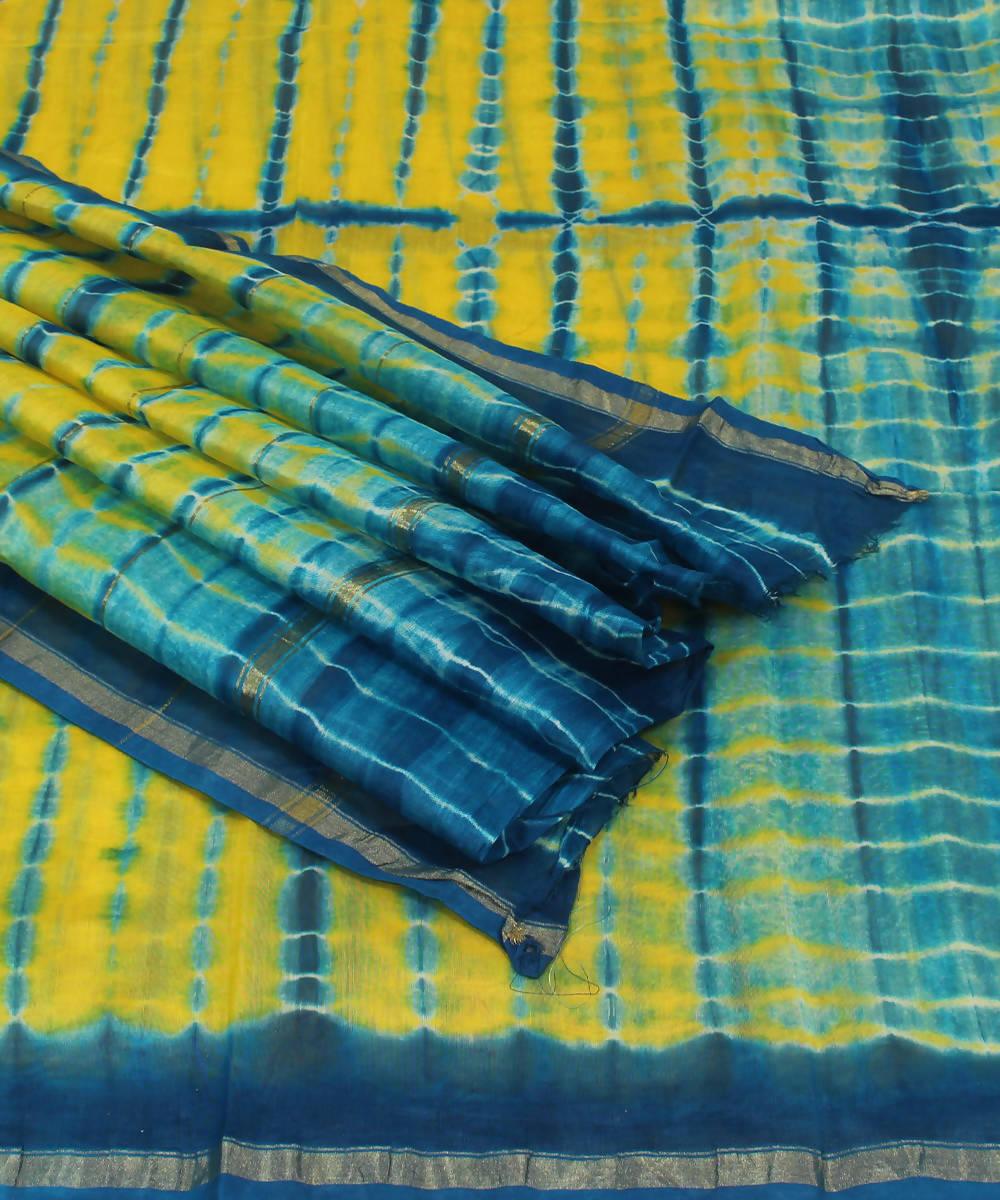 Yellow Blue Shibori Printed Chanderi Saree