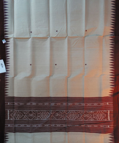 Cream And Maroon Tussar Stole