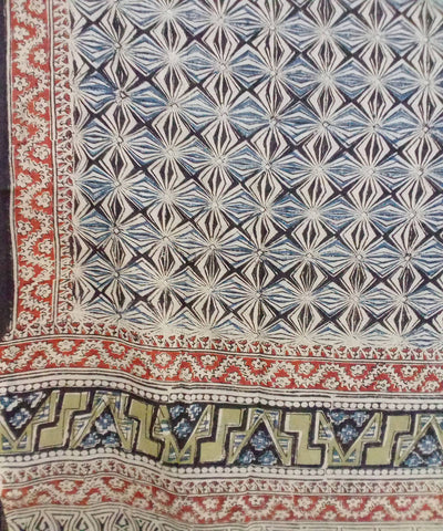 Prismatic Kalamkari handblock printed cotton saree