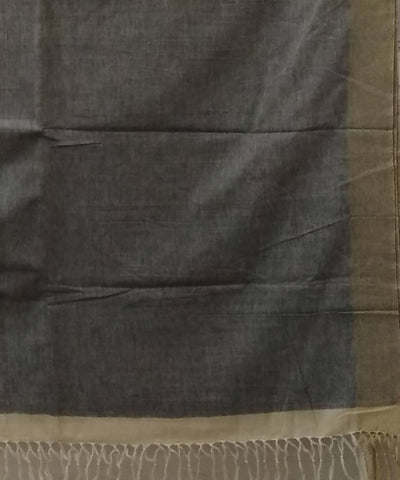 Natural Grey White Handwoven Cotton Saree