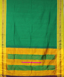 green ilkal handwoven chikki paras border saree