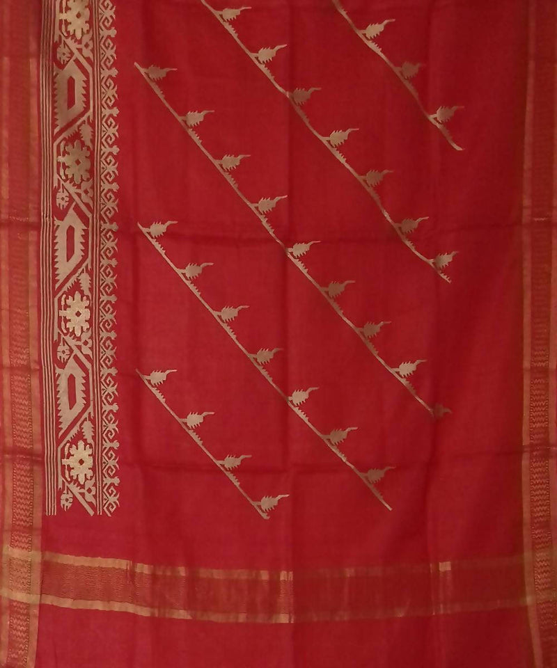 Red Silk Handwoven Dupatta