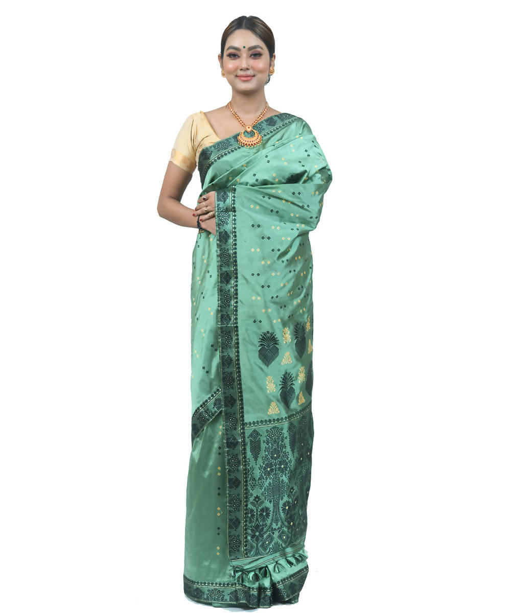 Olive green assam silk handwoven saree