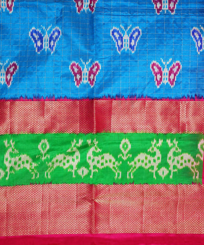 Sky Blue Pink Handloom Pochampally Silk Saree