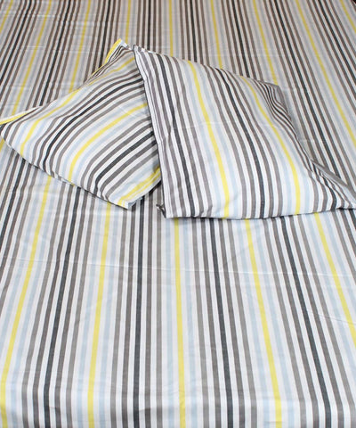 White Striped Handloom Cotton Bedsheet