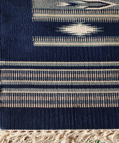Navy Blue Handwoven Interlock Cotton Dhurrie