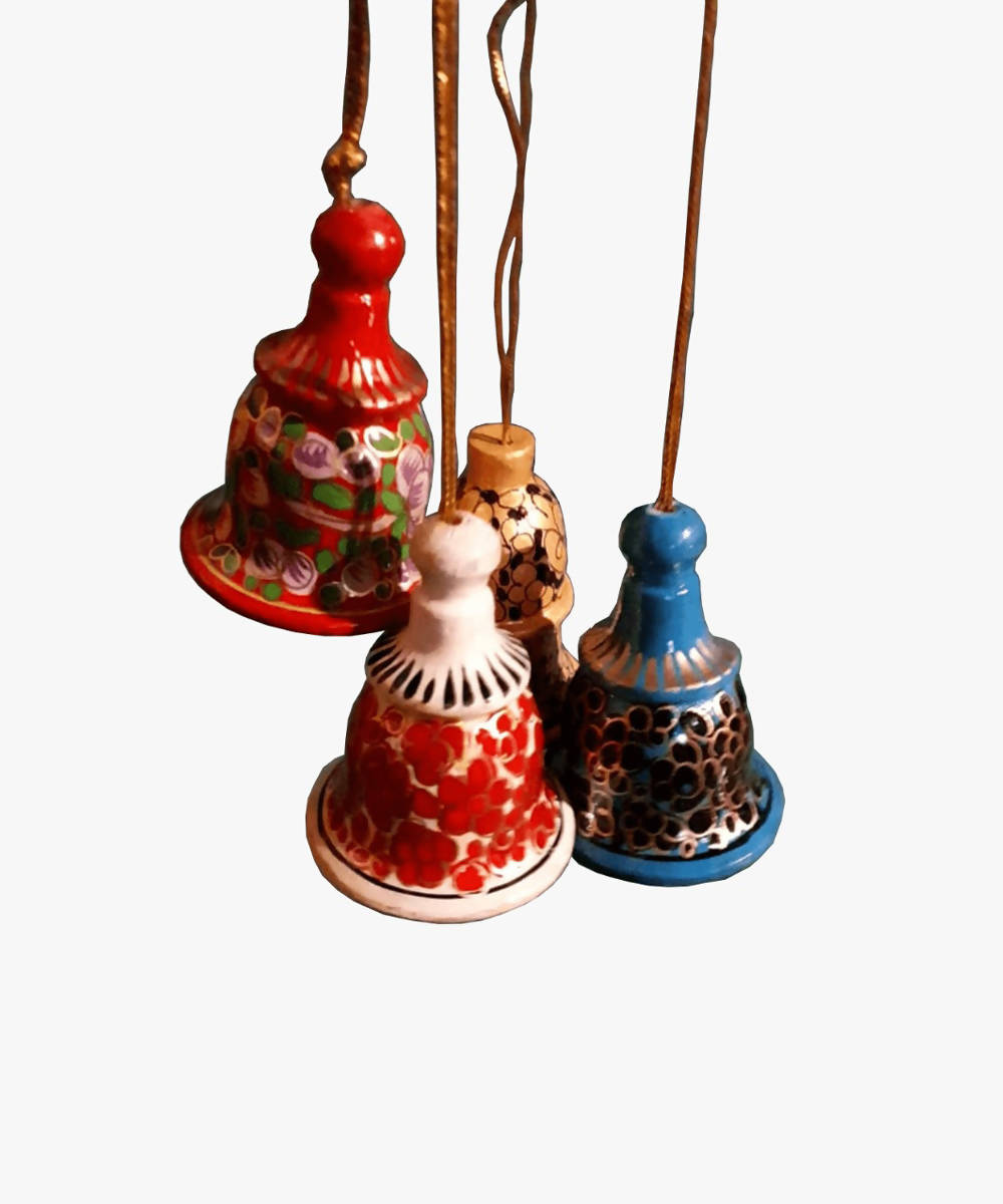 Assorted bells (small) hand painted soft wood decors (set of 2)