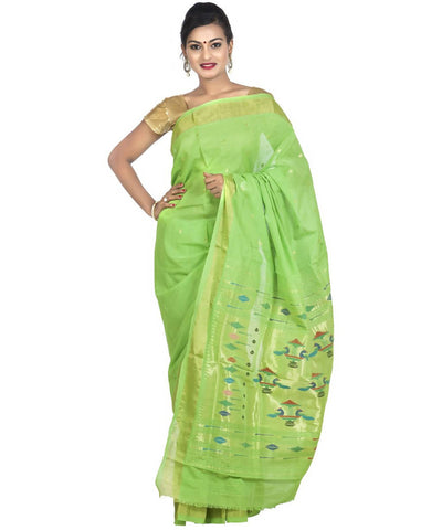 Parrot Green Handloom Paithani Cotton Saree