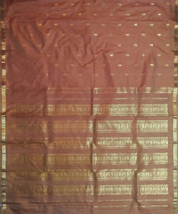light brown handloom mulbery silk saree