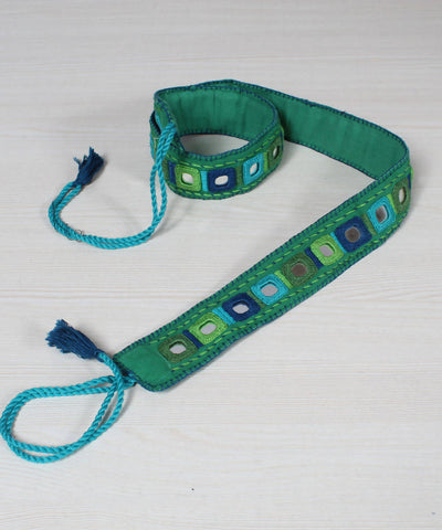 Green Lambani Mirror Work Embroidery Belt