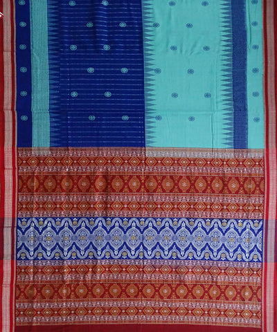 Blue Handloom Bomkai Cotton Saree