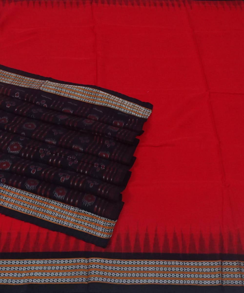 Bomkai handwoven red black cotton saree