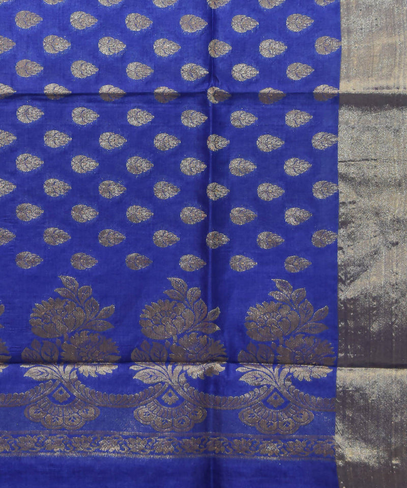 Banarasi Azure Blue Handwoven Silk Saree