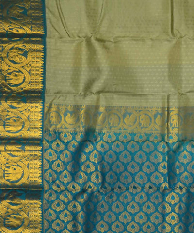 Grey Green Blue Handloom Embossed Work Dharmavaram Silk Saree