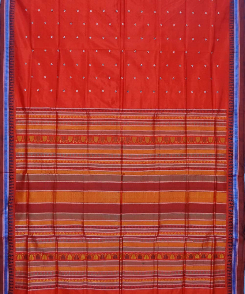 Red Handwoven Dongria Silk Saree